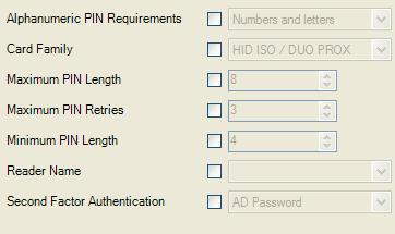 Authenticator Configuration Settings Proximity Card If you are using Proximity Cards, advanced settings are available in the ESSO-LM Administrative Console.