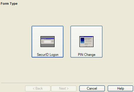 Click Finish. The Form Wizard appears. 5. Select the SecurID Login button.
