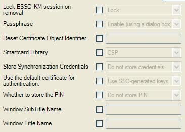 Authenticator Configuration Settings Smart Card If you are using Smart Cards, advanced settings are available in the ESSO-LM Administrative Console.