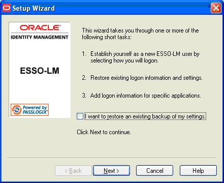 ESSO-AM Installation and Setup Guide First Time Use Scenarios In the setup phase, the user will go through the normal ESSO-LM First Time Use (FTU) wizard until the Select Primary Logon Method dialog