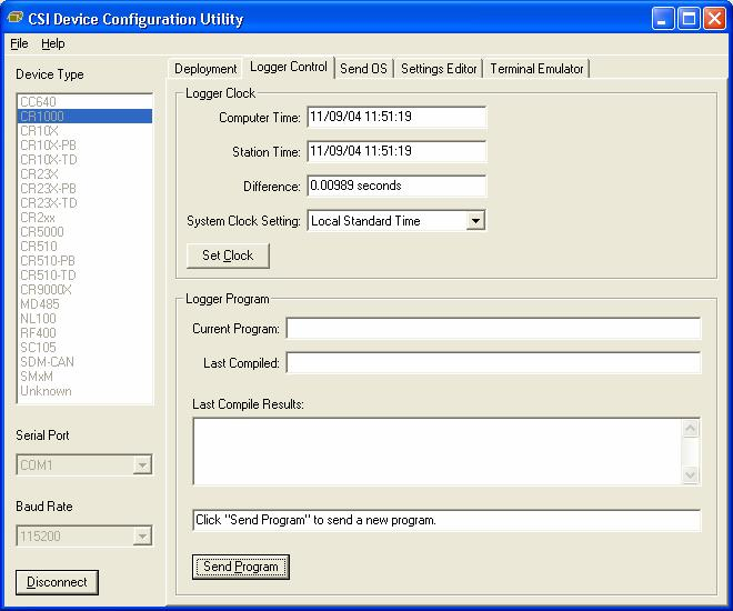 Section 8. CR1000 Configuration 8.3.1.2 Logger Control Tab FIGURE 8.3-6. DevConfig Logger Control Tab The clock in the PC and the datalogger will be checked every second and the difference displayed.