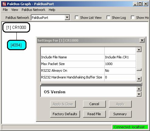 Section 8. CR1000 Configuration FIGURE 8.3-9. Include File settings via LoggerNet PakBusGraph provides a settings portal via telecommunications. 8.3.4.2 Default.CR1 File Default.