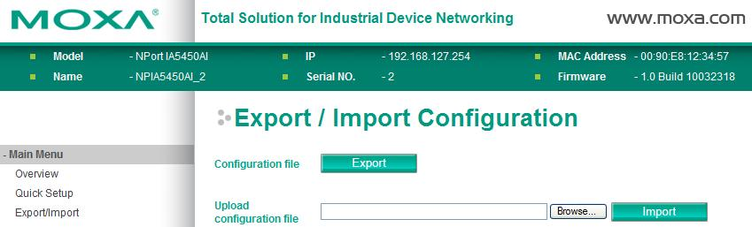 Click the Import button to upload a configuration file to the NPort IA5150A/IA5250A.