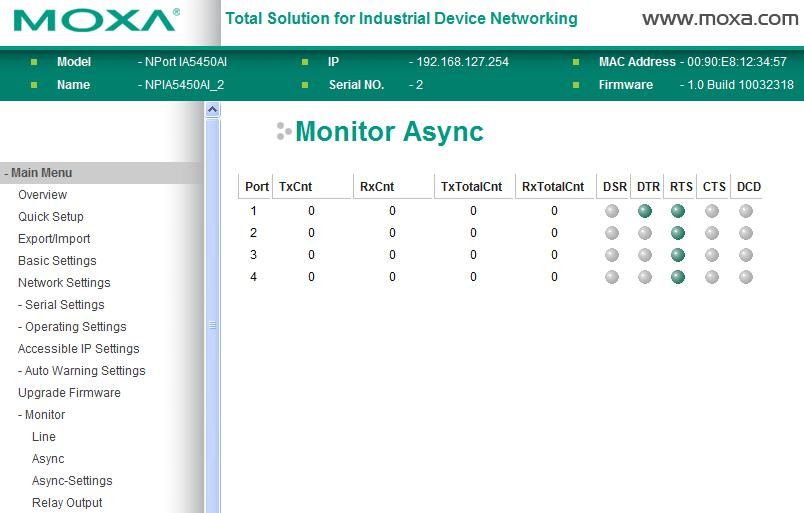 Web Console Configuration Monitor Async Click Async under Monitor to show the current status of the serial port.