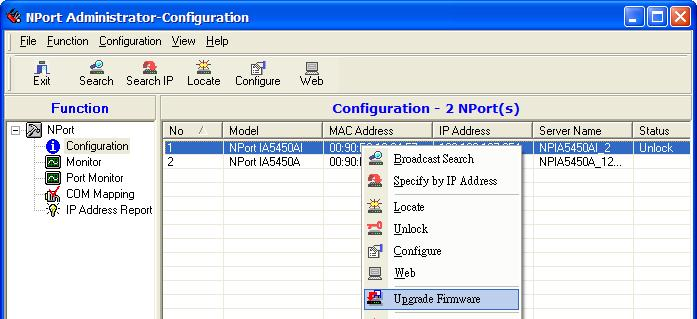 Configuring NPort Administrator 2. Unlock the NPort IA5150A/IA5250A you wish to configure if it is password protected.