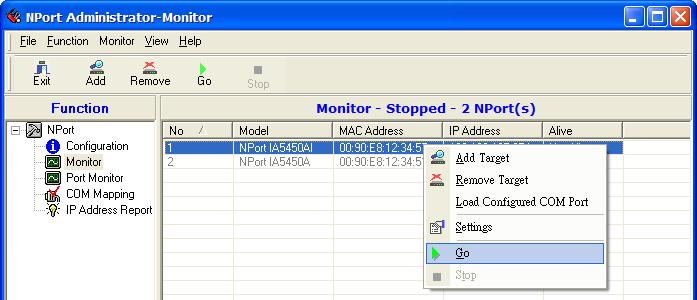 Right click in the NPort IA5150A/IA5250A list section and select Go to