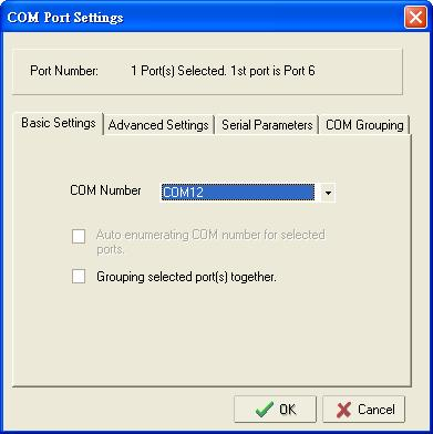 Configuring NPort Administrator 2. Select a COM number that is not in use or assigned to a Group and click OK. 3.