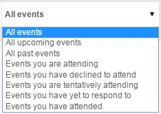 Using Events 7 Events Browse When you select the Events tab, you can browse through all of the place's events, beginning with the next upcoming event.