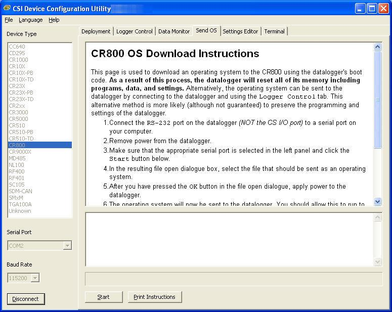 CR800 and CR850 Overview OV3.4 Send OS Tab - Downloading an Operating System DevConfig can send operating systems to all Campbell Scientific devices with flash replaceable operating systems.