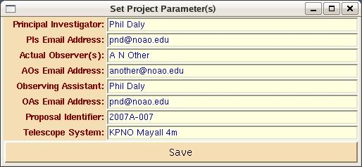 2 P. N. Daly 2. Start Me Up! Figure 1.: NGUI Project Parameters Screen When started, you will see the default project screen, shown in figure 1, and you should edit and save these values.