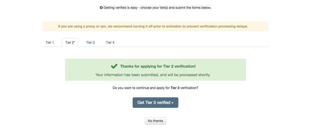 STEP 3 VERIFY YOUR ACCOUNT TIER 2 For Tier 2, you ll need to add your home address and click Get Verified.