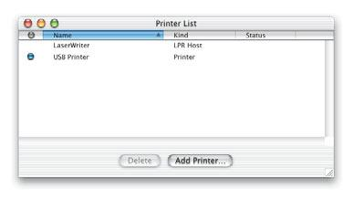 To change the default printer, select a printer in the list and choose Make Default from the Printers menu. Click here to add a printer. Choose the type of connection for the printer here.