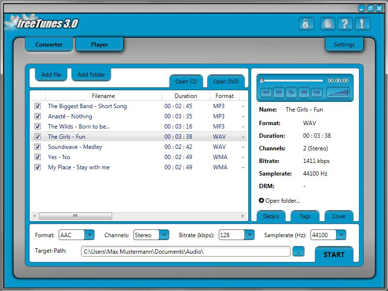 10 2 freetunes 3.0 Converter This are the options for the converter. - 2.1 Source Target format Details Tags Cover Output settings Source You can use a lot of different formats as source files, e.g. protected and non-protected audio files.