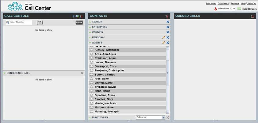 Monitoring Agents and Queues Figure 4-8: Dashboard Template By clicking on the Agents sub category under Contacts in the center of the screen, the list of agents assigned to the supervisor will