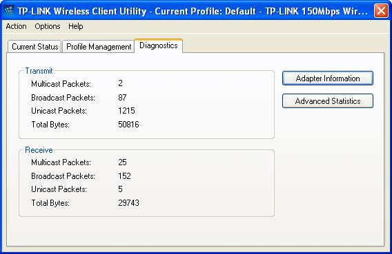 3.3 Diagnostics The Diagnostics tab of the TP-LINK Wireless Client Utility (TWCU) provides buttons used to retrieve receiving and transmitting statistics.