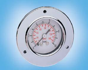 Pressure Gauge for Panel Mounting ME / MF Media Scale Indicator accuracy Bourdon tube gauge, dust-protected, splash-proof, antirust, oil-resistant and silicone-free. all media compliant with brass, e.