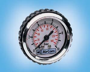 % FS on gauge Ø 40 mm and Ø 0 mm Threaded connection G 1 8 or G¼, on central back Temperature range 0 C to 60 C / 32 F to 0 F, for appropriately conditioned compressed air down to -20 C / -4 F