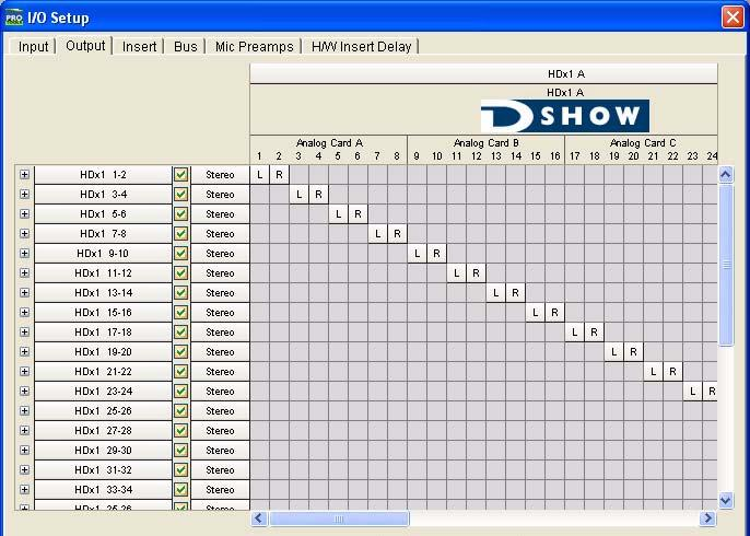 D-Show Settings HDx puts (Recording) Each HDx card provides 48 fixed outputs and 16 assignable outputs for recording of D-Show channels into Pro Tools: Use the Options > System Config page to route