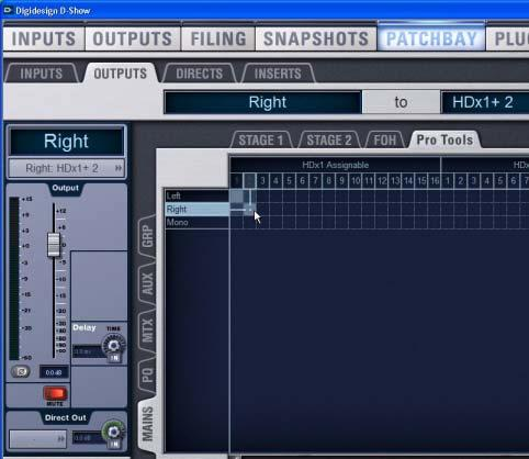 Pro Tools the puts tab of the I/O Setup dialog: Assign available D-Show fixed output channels to HDx input paths in Pro Tools.