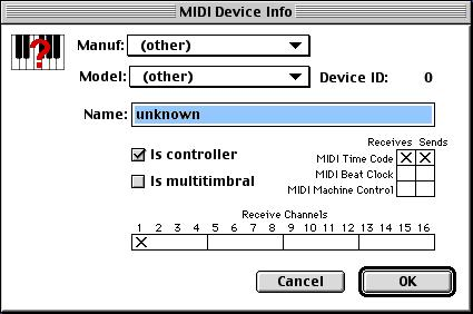 OMS searches for and displays any detected MIDI devices. Some older instruments, as well as some newer ones, may not be recognized by the OMS auto-detection routines.