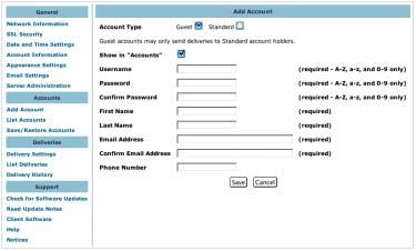 Managing User Accounts There are two types of user accounts on DigiDelivery servers: Standard Accounts Standard accounts can send deliveries to anyone.