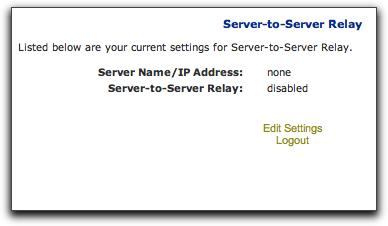 4 Click Go. The Current Settings page appears, displaying your current Server-to-Server Relay settings: Hostname/IP Address Indicates the name or IP address of the DigiDelivery server.