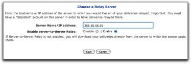 ) Enabled or Disabled Indicates the current status of the Server-to-Server Relay. 7 Do one of the following: Select the Enable option to enable Serverto-Server Relay.