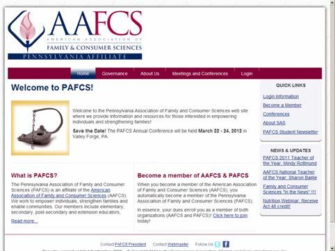 Samples of the PAFCS website to highlight: