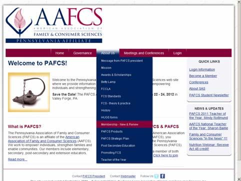 Samples of the PAFCS website to highlight: Information