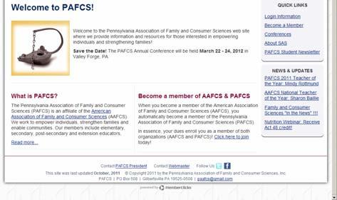 Samples of the PAFCS website to highlight: Every page has a way to
