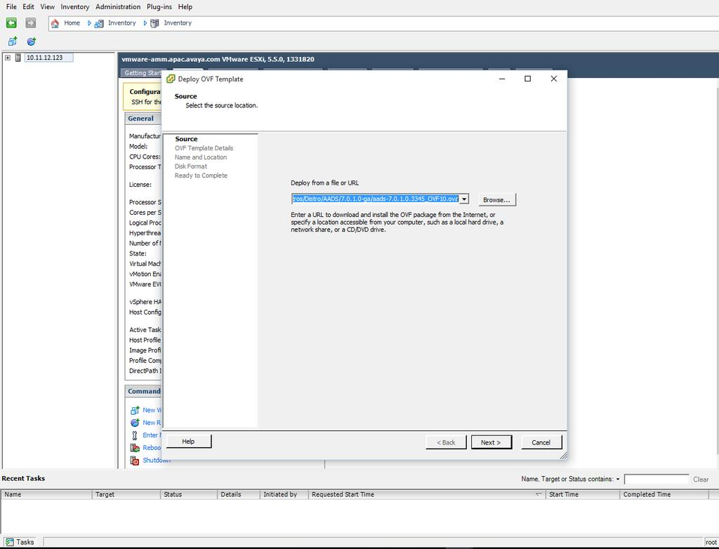 2. In the Deploy OVF Template window, type the URL in the Deploy from a file or URL field.