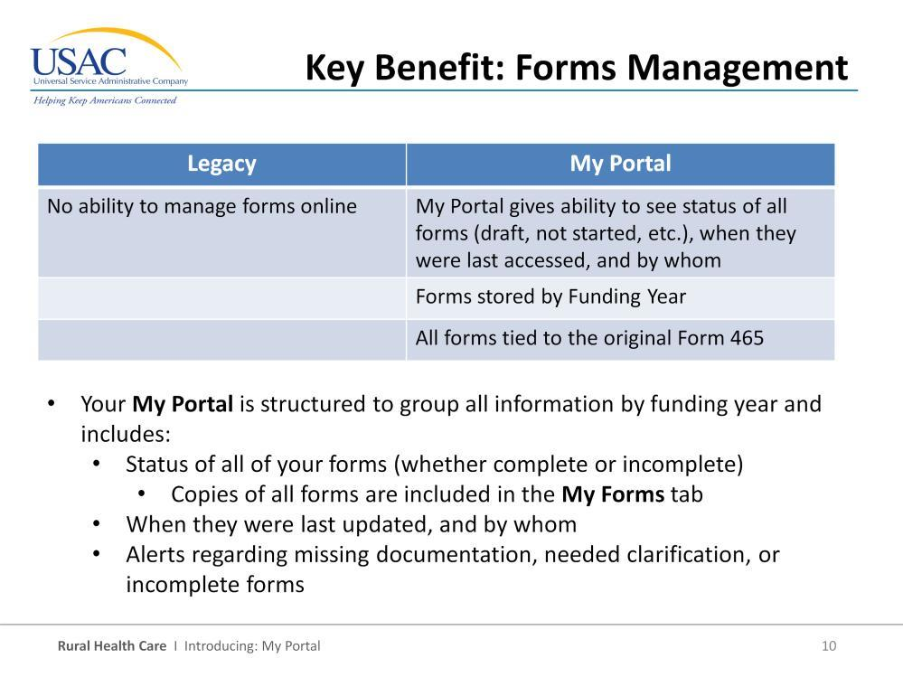 The next key benefit relates to forms management. I mentioned that we verify authorization before allowing access to health care providers account information.
