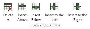 Select Row; Select Cell: These two buttons can be used to select the row or cell where the cursor is currently placed.