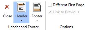 Header; Footer: Use these buttons to enable, disable and modify your headers and footers.