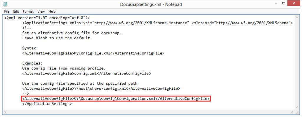 Advanced Topics Page 454 this file is not changed, as a result Docusnap always uses the defined configuration file. If no path is specified in this file the default configuration file is used.