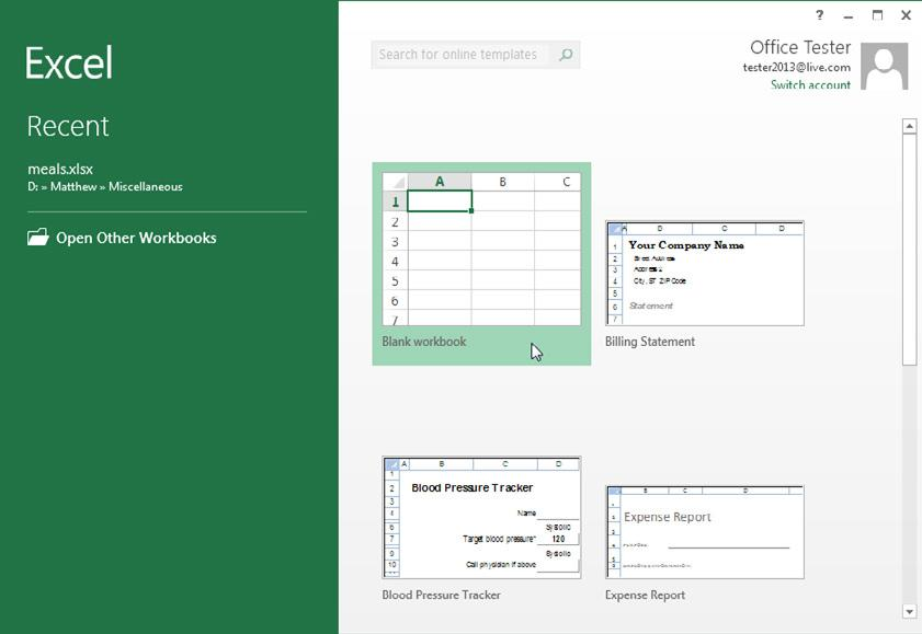 Figure 1-1 Excel s welcome page lets you create a new, blank worksheet or a readymade workbook from a template.