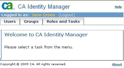 Default User Console The tasks that you see when you log into an Identity Manager environment depend on your admin roles.