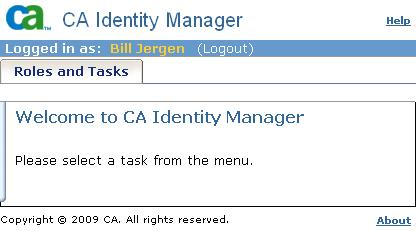 She sees tabs for the admin tasks that are available for User Managers. In this example, Bill Jergen has the Role Manager role.
