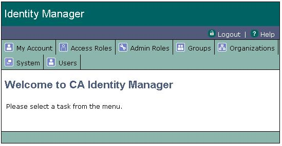 Identity Manager Skins This interface looks similar to the idm skin but displays menu options in a horizontal format. This skin is installed in the following folder: iam_im.
