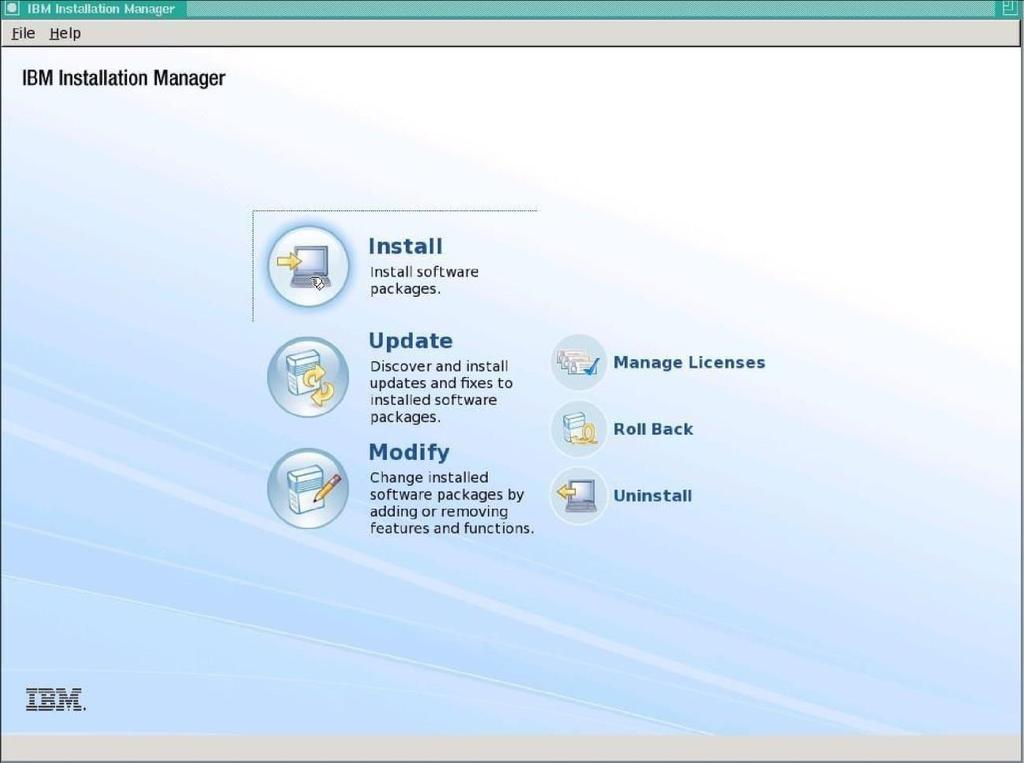 3. Select Install on the main IBM Installation Manager screen. 4.
