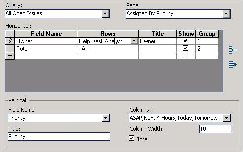 Customizing Row and Column Headings Use the Title fields to enter the heading text for rows and columns.