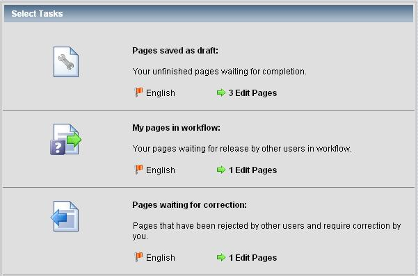 This screen also shows you the pages in workflow which are waiting for release by editors or publishers.