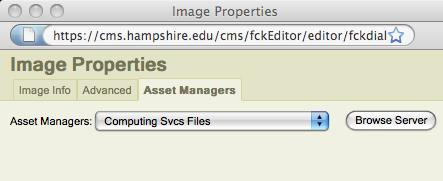 Adding Images 1. Click the Insert Image button. The Asset Manager 2. In the Image Properties screen, click Browse Server. 1 3 4 2 3. You may have to choose a folder.