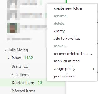 on the messages To get messages back from the Deleted Items folder or un-delete them: 1. Click on the Deleted Items folder and 2. Select the message to un-delete 3.
