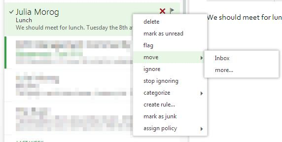 Choose Move > Inbox from the menu Even when messages are in your Deleted Items folder they're still taking space in the mailbox, because the Deleted Items folder is part of my mailbox.