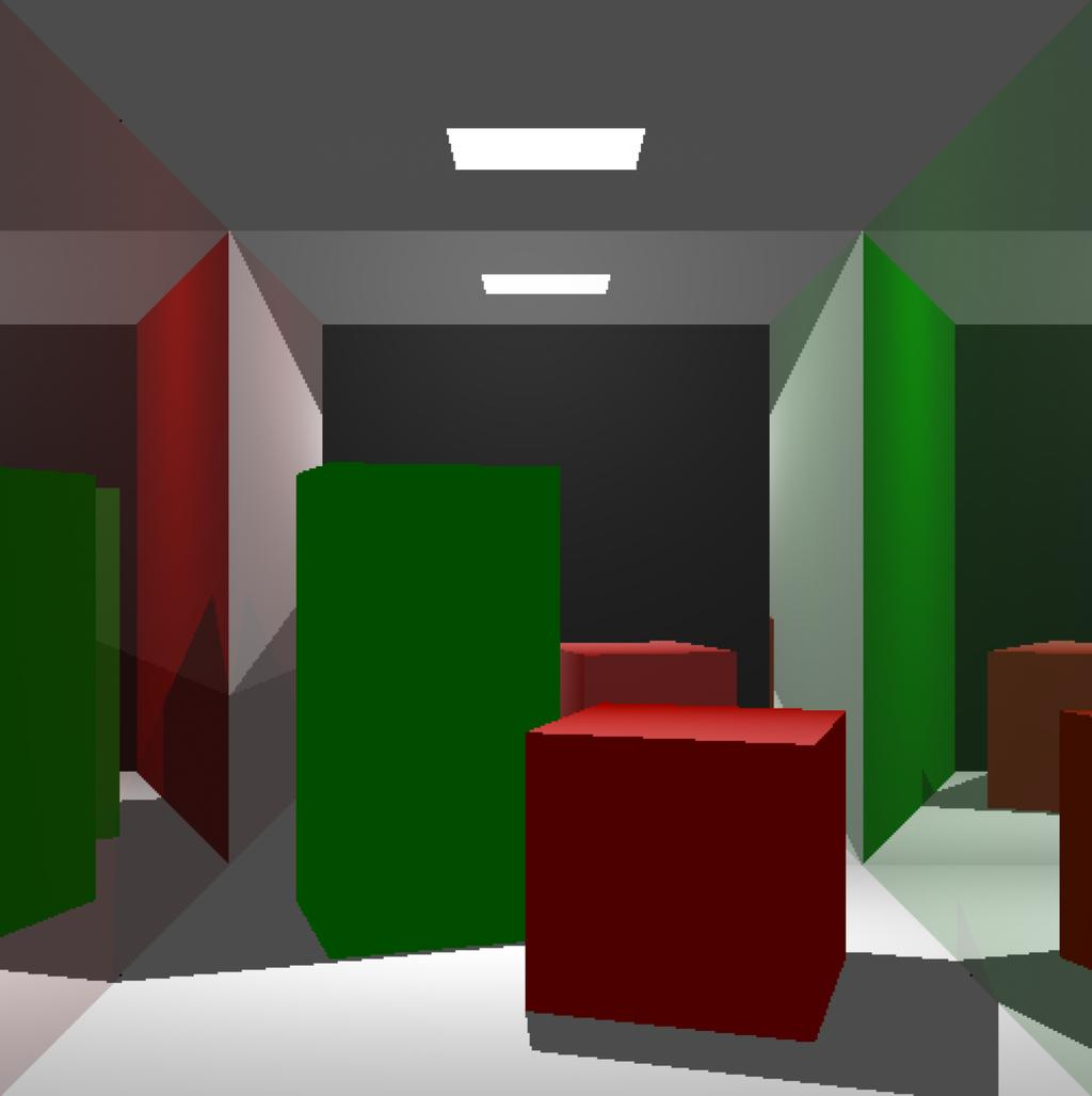 It is important to mention that the quantity of recursive rays greatly affects the performance, and may be unfeasible for dynamic applications. In all scenarios tested, only some objects, i.e. red, white and green walls, had reflective properties (80% of color was attributed to reflection rays).