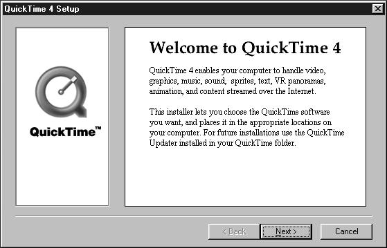 Install QuickTime4 5 Click