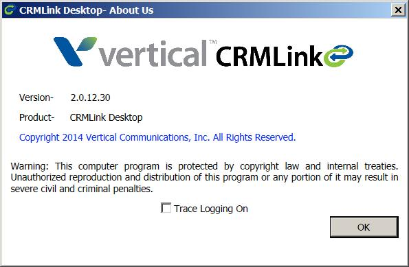 Page 9 Abut Displays the versin number and ther details abut CRMLink Desktp: Help Exit Opens this guide. Lgs yu ut and clses CRMLink Desktp.