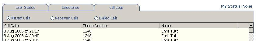 8. Call Logs The Call Logs tab displays Missed, Received and Dialled Calls in chronological order.