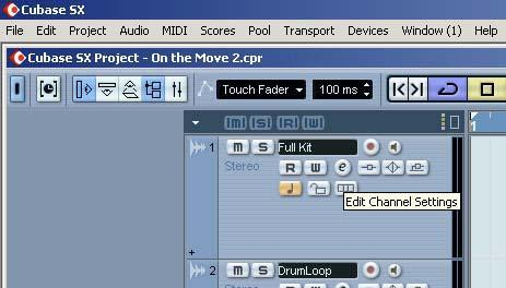 Keep in mind that EQ can only be used on audio tracks. q Call up the Project window. w Select the desired audio track.